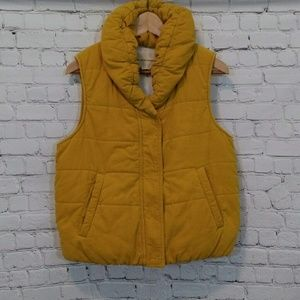 Anthropologie Puffer Vest Quilted Yellow Medium